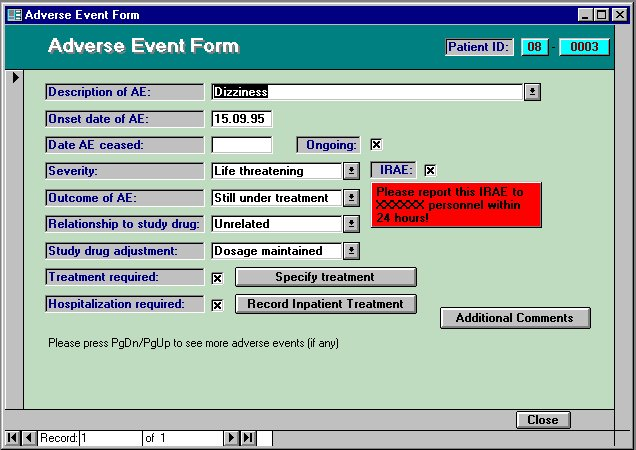 eCRF-Adverse Event Form